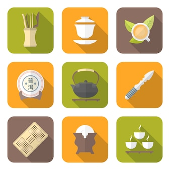 Ikony urządzeń chińskich ceremonii parzenia herbaty