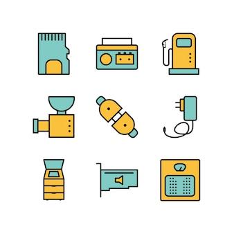 Ikony urządzeń elektronicznych na białym tle