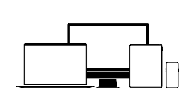 Ikony urządzeń. smartfon, tablet, laptop, komputer stacjonarny. zestaw ikon urządzeń. urządzenia elektroniczne, ilustracja wektorowa