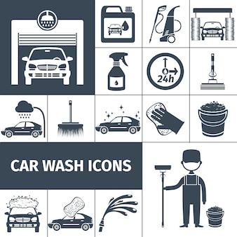 Ikony usługi mycia samochodu ustawione na czarno
