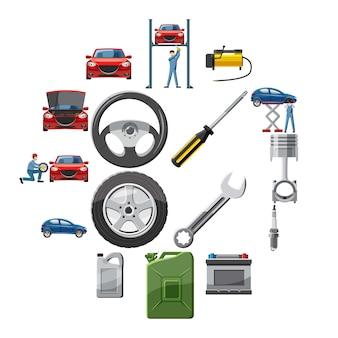 Ikony usługi samochodu ustawione w stylu kreskówki