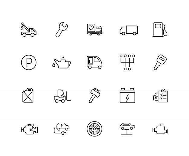 Ikony usługi samochodu. zestaw dwudziestu linii ikon. parking, stacja benzynowa, silnik.