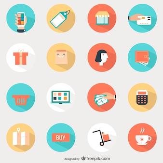 Ikony ustaw okrągłe zakupy