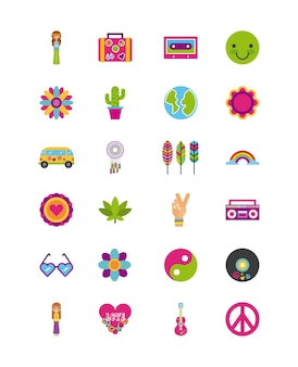 Ikony ustawić kreskówka scenerii hippie