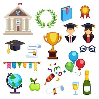 Ikony wektor edukacji ukończenia szkoły