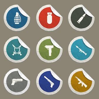 Ikony wektorów broni dla stron internetowych i interfejsu użytkownika