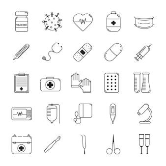 Ikony wektorów medycyny i zdrowia czarna linia oddziela zestaw od białego podłoża