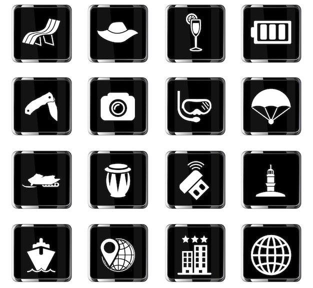 Ikony wektorów podróży do projektowania interfejsu użytkownika