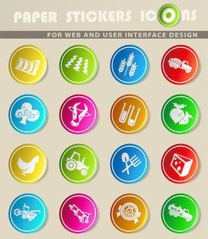 Ikony wektorów rolniczych na kolorowych naklejkach papierowych