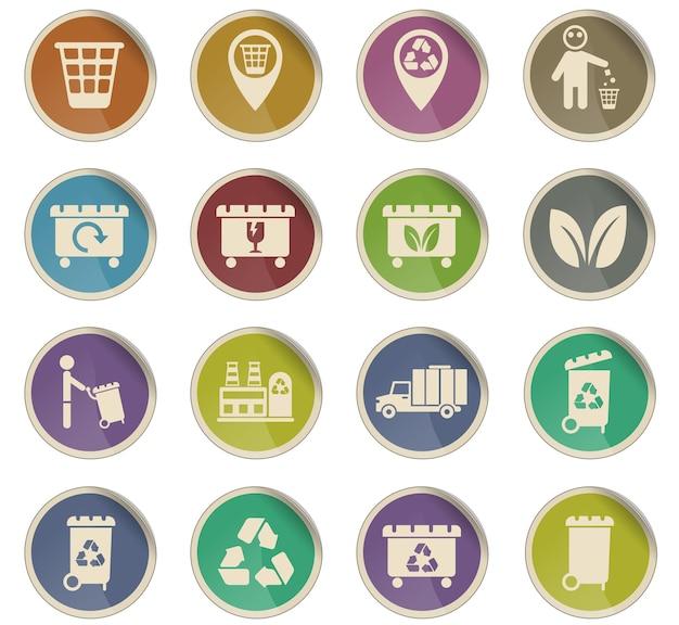 Ikony wektorów śmieci w postaci okrągłych etykiet papierowych