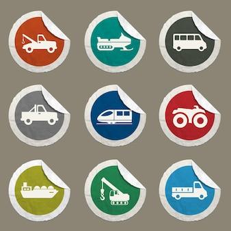 Ikony wektorów transportu dla stron internetowych i interfejsu użytkownika