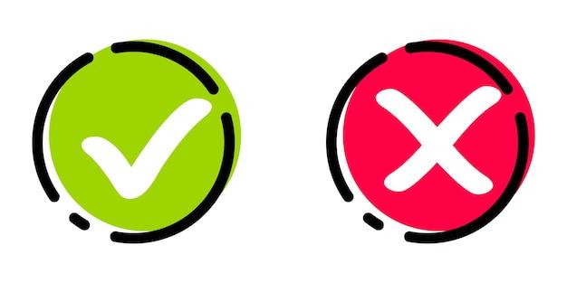 Ikony wektorów z zielonym haczykiem i czerwonym krzyżem znaki i krzyżyki zaakceptowane odrzucone zatwierdzone odrzucone