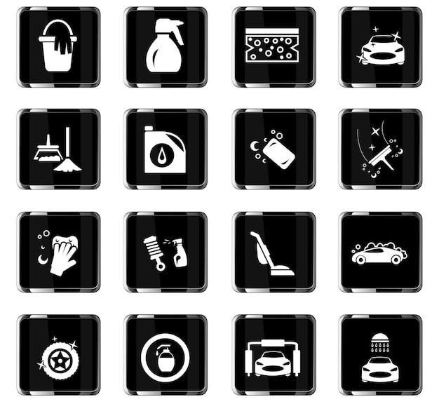 Ikony wektorowe myjni samochodowej do projektowania interfejsu użytkownika