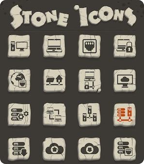 Ikony wektorowe serwera na kamiennych blokach w stylu epoki kamienia do projektowania stron internetowych i interfejsu użytkownika