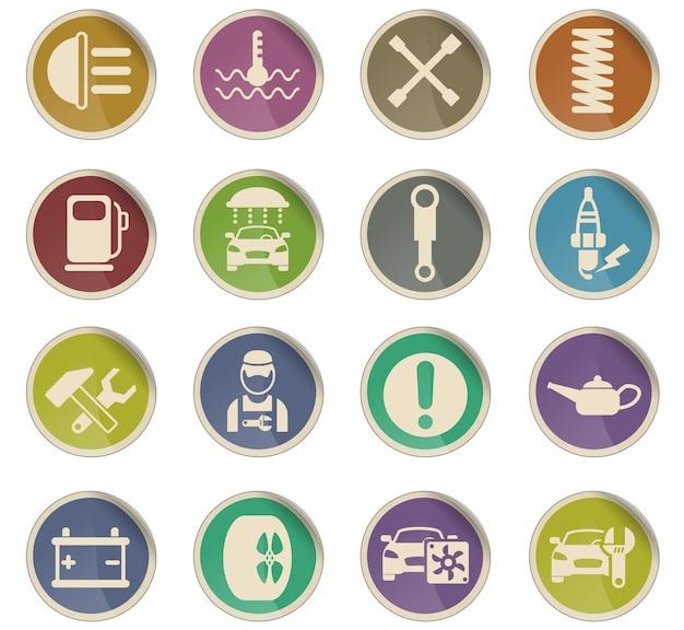 Ikony wektorowe serwisu samochodowego w postaci okrągłych etykiet papierowych