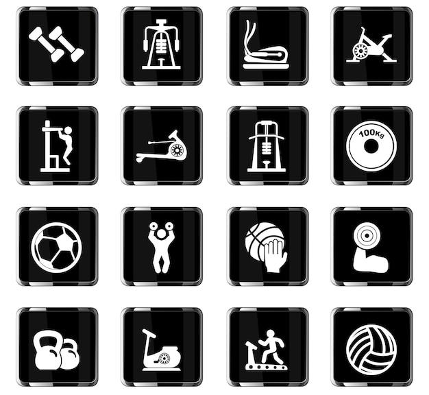Ikony wektorowe sprzętu sportowego do projektowania interfejsu użytkownika
