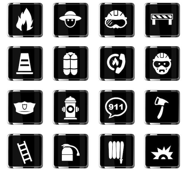 Ikony wektorowe straży pożarnej do projektowania interfejsu użytkownika