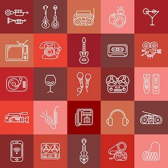 Ikony wektorowe sztuki linii