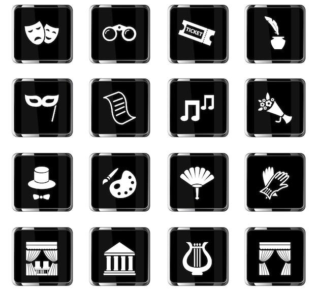 Ikony wektorowe teatru do projektowania interfejsu użytkownika