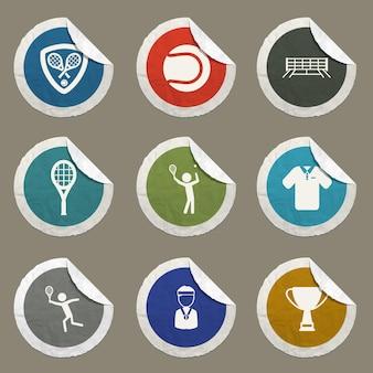 Ikony wektorowe tenisa dla stron internetowych i interfejsu użytkownika