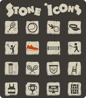 Ikony wektorowe tenisa na kamiennych blokach w stylu epoki kamienia do projektowania stron internetowych i interfejsu użytkownika