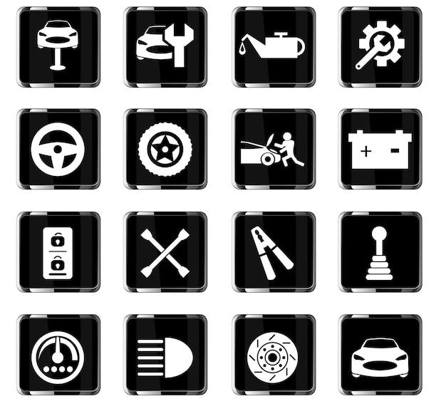 Ikony wektorowe usługi samochodowej do projektowania interfejsu użytkownika