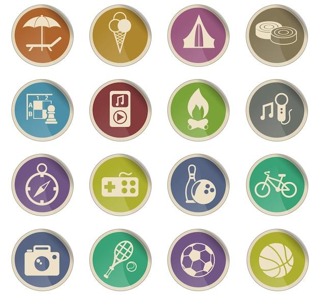 Ikony wektorowe wypoczynku w postaci okrągłych etykiet papierowych