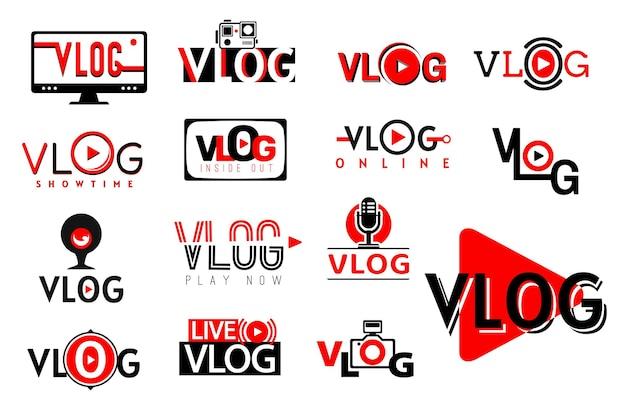 Ikony wideo vlog, symbole przycisków play i tv blog wektor. kanał wideo vlog i strumień mediów społecznościowych lub transmisja na żywo z vlogera online, kamera internetowa i znaki odtwarzacza