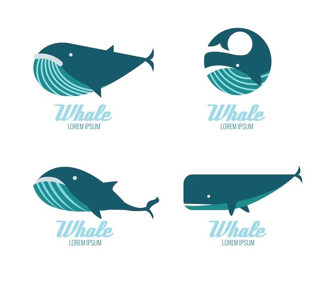 Ikony wielorybów. płaskie elementy konstrukcyjne. ilustracji wektorowych