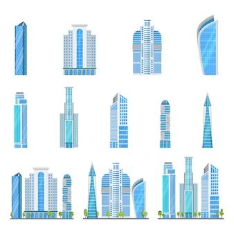Ikony wieżowców nowoczesne budynki ze szkła i stali