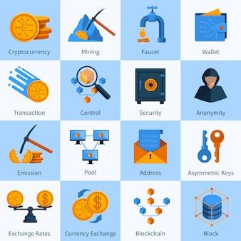 Ikony wirtualnej waluty zestaw płaski