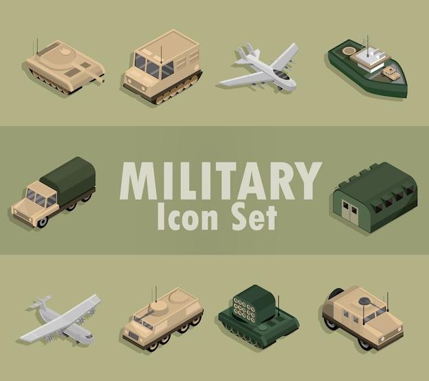 Ikony wojskowe z samolotami, ciężarówkami, czołgami, izometrycznym projektem okrętu wojennego