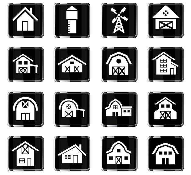 Ikony www budowy gospodarstwa do projektowania interfejsu użytkownika