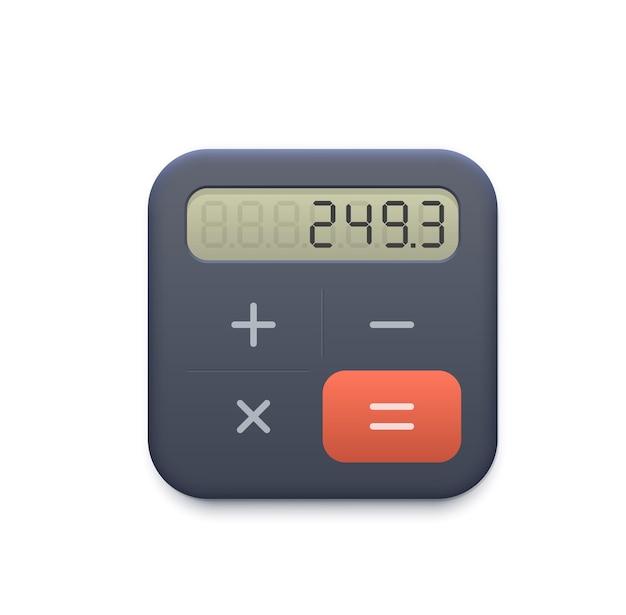 Ikony www kalkulator biznes z wyświetlaczem i przyciskami. ikona aplikacji księgowości, finansów lub biznesu na telefon komórkowy, program księgowy lub obliczenia interfejsu użytkownika usługi online 3d realistyczny piktogram wektorowy
