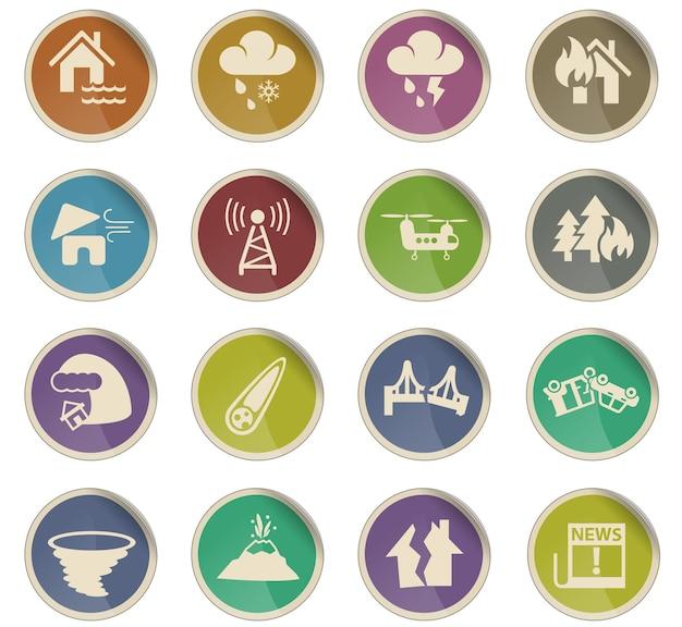 Ikony www klęsk żywiołowych w postaci okrągłych etykiet papierowych