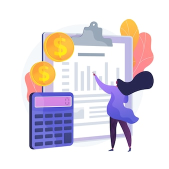 Ikony www kreskówka bilansu. proces księgowy, analityk finansowy, narzędzia obliczeniowe. pomysł na doradztwo finansowe. obsługa księgowa. ilustracja wektorowa na białym tle koncepcja metafora