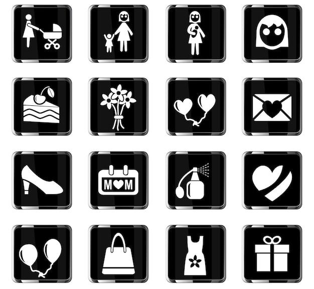 Ikony Www Na Dzień Matki Do Projektowania Interfejsu Użytkownika Premium Wektorów
