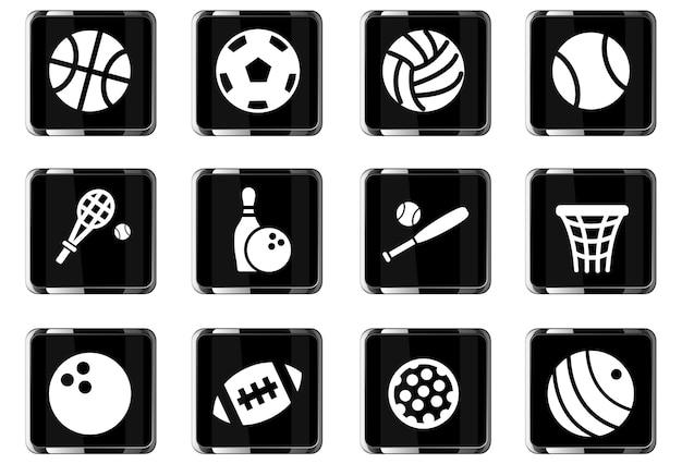 Ikony www piłek sportowych do projektowania interfejsu użytkownika