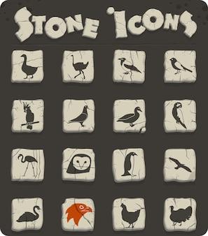 Ikony www ptaków do projektowania interfejsu użytkownika