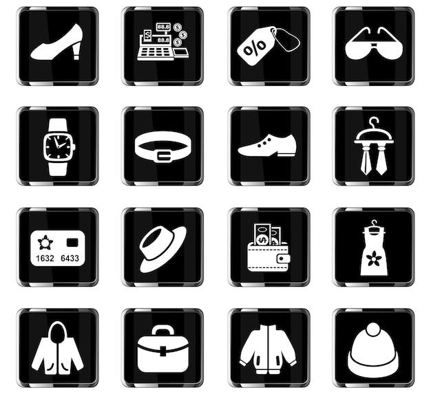 Ikony www sklepu z ubraniami do projektowania interfejsu użytkownika
