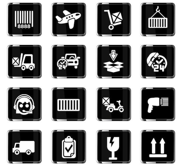 Ikony www usługi dostawy do projektowania interfejsu użytkownika