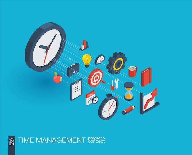 Ikony www zintegrowane z zarządzaniem czasem. koncepcja postępu izometrycznego sieci cyfrowej. połączony system wzrostu linii graficznych. streszczenie tło dla strategii biznesowej, planu. infograf