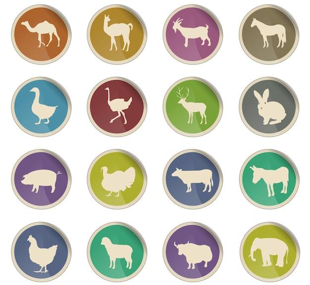 Ikony www zwierząt gospodarskich w postaci okrągłych etykiet papierowych