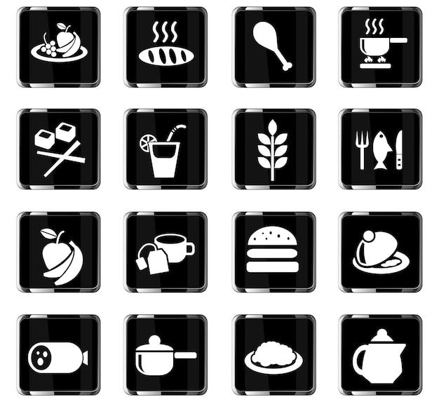 Ikony www żywności i kuchni do projektowania interfejsu użytkownika
