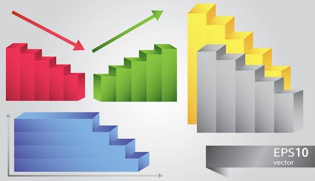 Ikony wykresów w różnych kolorach - wektor zestaw