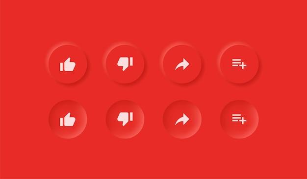 Ikony youtube w przyciskach neumorfizmu, takie jak niechęć, udostępnij zapisz powiadomienia