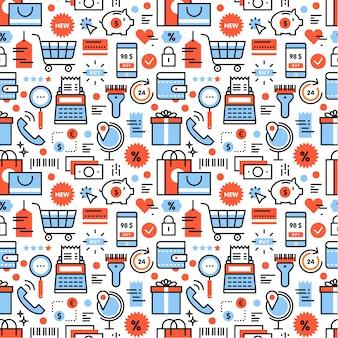 Ikony zakupów i rabatów kwadratowych