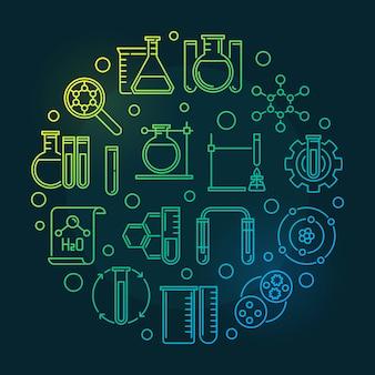 Ikony zarys sprzętu laboratoryjnego