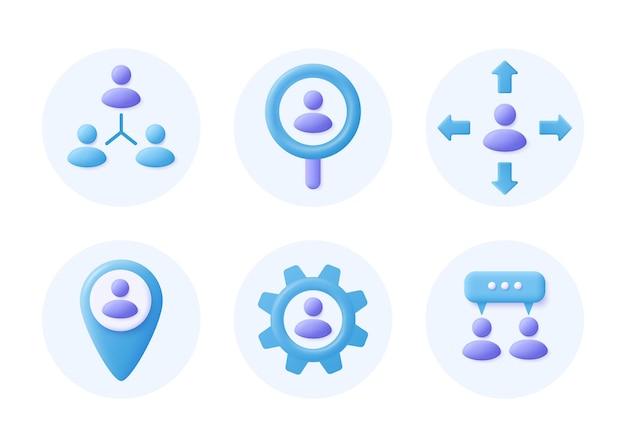 Ikony zarządzania przedsiębiorstwem. zarządzanie zasobami i rekrutacja. ilustracja wektorowa 3d.