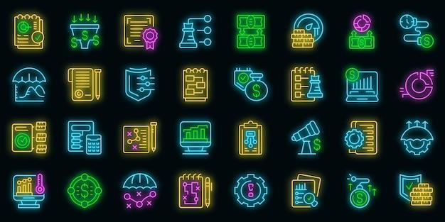 Ikony zarządzania ryzykiem zestaw wektor zarys. przedsięwzięcie firmy. biznes korporacyjny